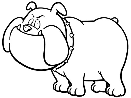 angry dog: illustration of Cartoon Angry Dog - Coloring book Illustration