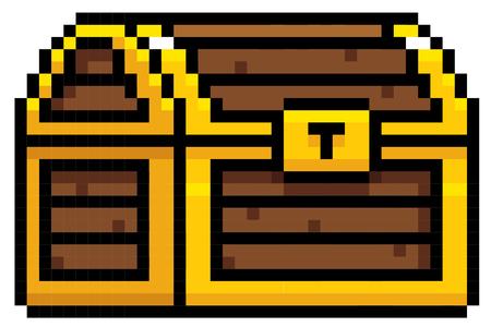 dungeon: Illustration of Chest cartoon - Pixel design Illustration