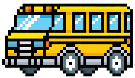 flashers: illustration of School bus - Pixel design