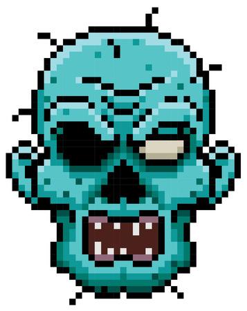 walking corpse: illustration of Cartoon zombie face - Pixel design Illustration