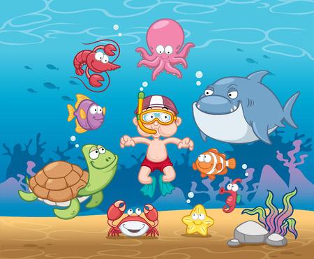 Ilustración de chico que bucea bajo el mar