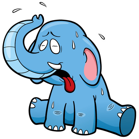 hot weather: illustration of cartoon Elephant in Hot Weather