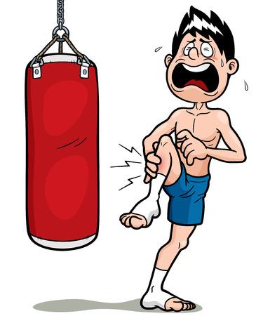 thai boxing: Illustration of Thai Boxing cartoon