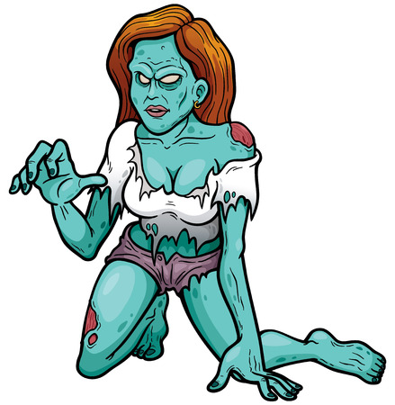 dangling: illustration of Cartoon Female zombie Illustration