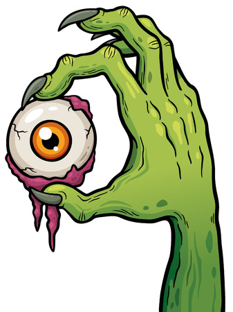 illustration of Cartoon Zombie hand holding eye Иллюстрация