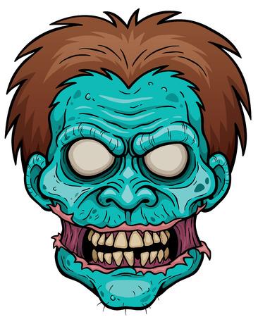 Ilustración de la cara del zombi de la historieta Ilustración de vector