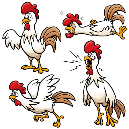 pompous: Vector illustration of Cartoon Chicken Character Set