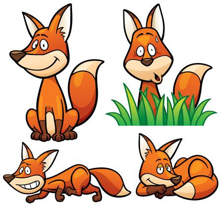 Vector illustration of Cartoon Fox Character Set Illustration