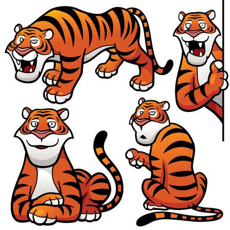 shape cub: Vector illustration of Cartoon Tiger Character Set Illustration