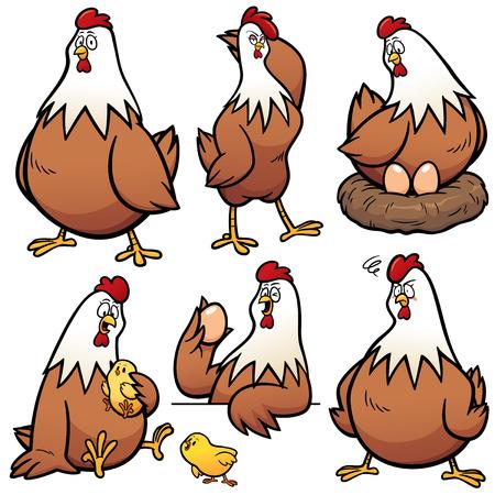 Vector illustration of Cartoon  Hen Character Set