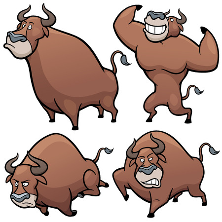 uncertainty: Vector illustration of Cartoon Bull Character Set Illustration