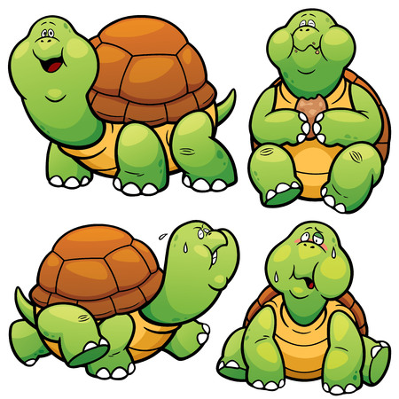 carapace: Vector illustration of Cartoon Turtle Character Set
