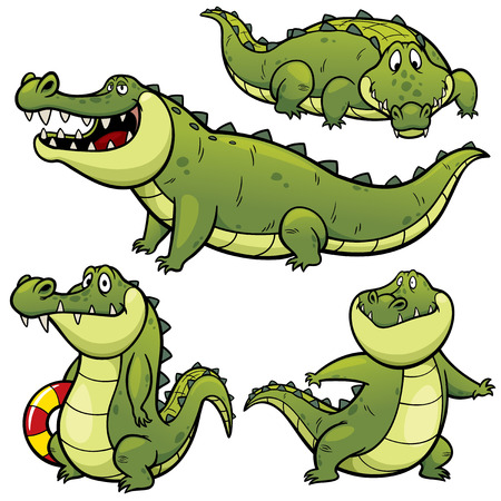 Vector illustration of Cartoon Crocodile Character Set