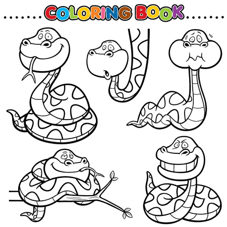 forked tongue: Cartoon Coloring Book - Snake