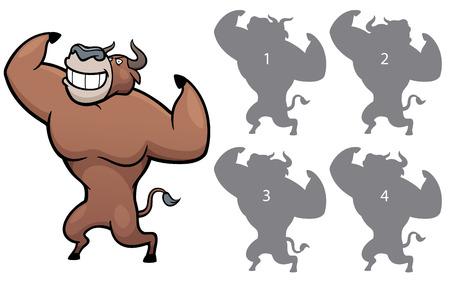 right choice: Vector Illustration of make the right choice and connect shadow matching - Bull