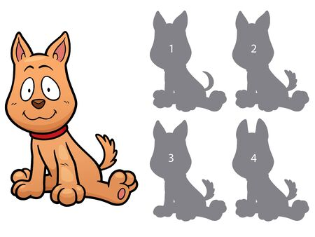 right choice: Vector Illustration of make the right choice and connect shadow matching - dog