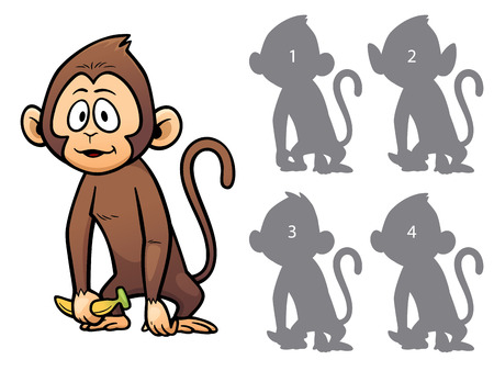 right choice: Vector Illustration of make the right choice and connect shadow matching - Monkey