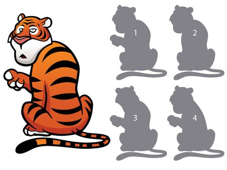 right choice: Vector Illustration of make the right choice and connect shadow matching - Tiger