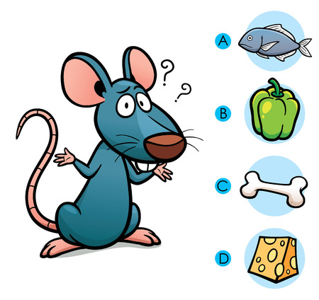 Ilustración de tomar la decisión correcta conexión de los animales con su comida - Rata Ilustración de vector