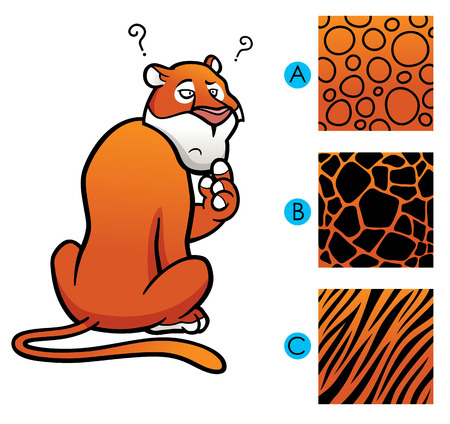 Vector Illustration of Education game make the choice skin matching - Tiger
