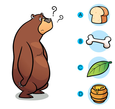 game meat: Vector Illustration of make the right choice connect animal with their food - Bear
