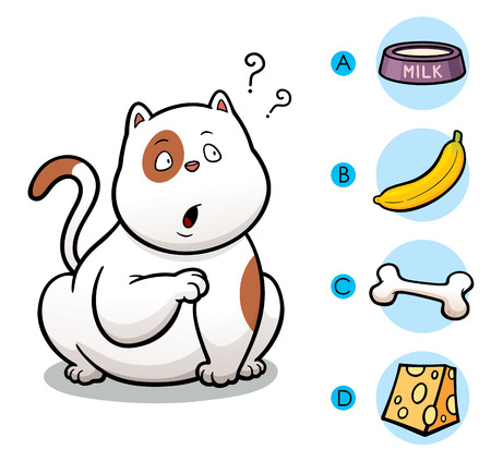 right choice: Vector Illustration of make the right choice connect animal with their food - Cat Illustration