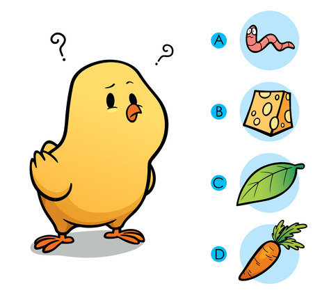 right choice: Vector Illustration of make the right choice connect animal with their food - Chick