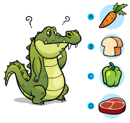 right choice: Vector Illustration of make the right choice connect animal with their food - Crocodile