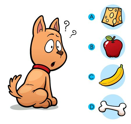 feed: Vector Illustration of make the right choice connect animal with their food - Dog