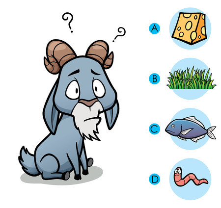 right choice: Vector Illustration of make the right choice connect animal with their food - Goat Illustration