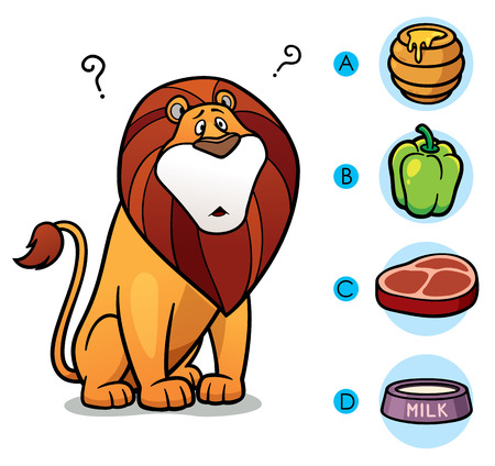 right choice: Vector Illustration of make the right choice connect animal with their food - Lion Illustration