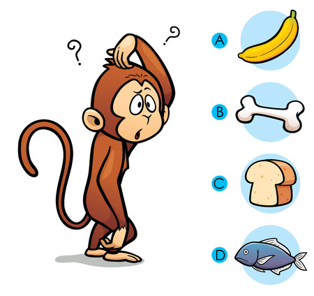 clever: Vector Illustration of make the right choice connect animal with their food - Monkey Illustration