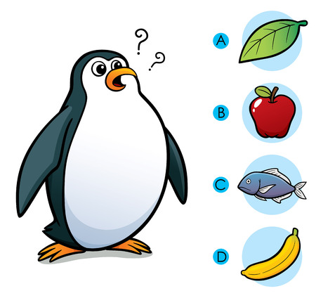 right choice: Vector Illustration of make the right choice connect animal with their food - Penguin Illustration