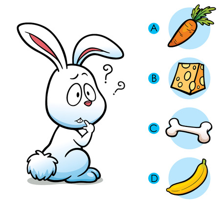 right choice: Vector Illustration of make the right choice connect animal with their food - Rabbit