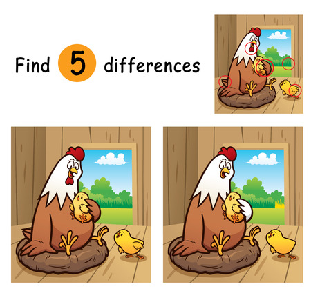 differences: Vector Illustration of Game for children find differences - Hen