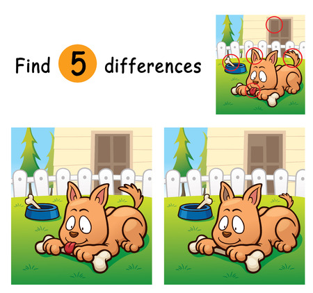 differences: Vector Illustration of Game for children find differences - Dog
