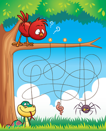 game bird: Vector Illustration of Education Maze Game Bird with food