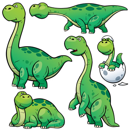 enormous: Vector illustration of Dinosaurs Cartoon Character Set Illustration