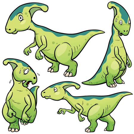 petrifying: Vector illustration of Dinosaurs Cartoon Character Set Illustration