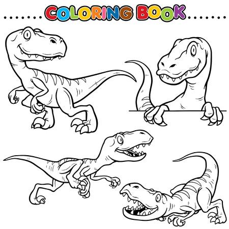 tyrannosaur: Cartoon Coloring Book - Dinosaurs Character