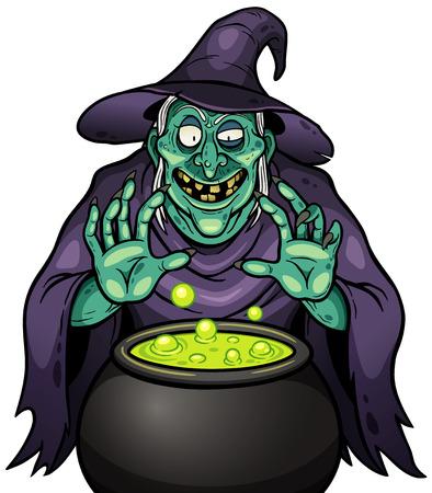 Vector illustration of Cartoon Witch with cauldron Illustration