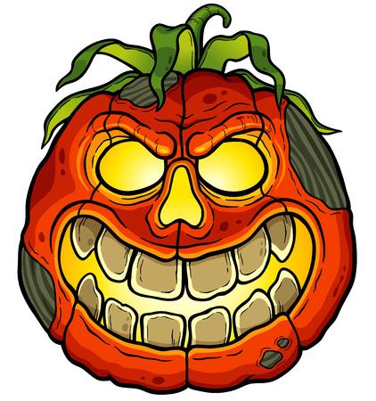 frightful: Vector illustration of Cartoon Halloween pumpkin