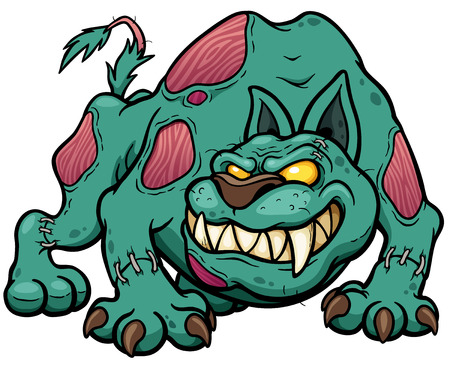 Vector illustration of Cartoon Dog zombie