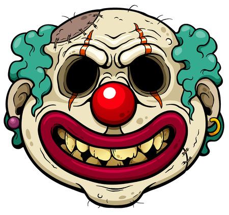 Illustration vectorielle de visage de dessin animé Zombie Clown Vecteurs