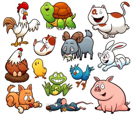 Vector illustration of Cartoon Farm Animals Character Set