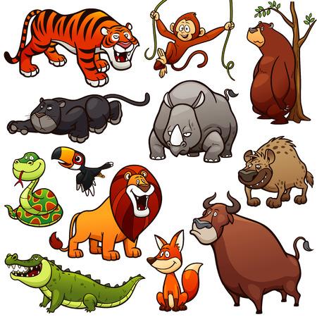 만화 야생 동물 캐릭터 세트의 벡터 일러스트 레이션