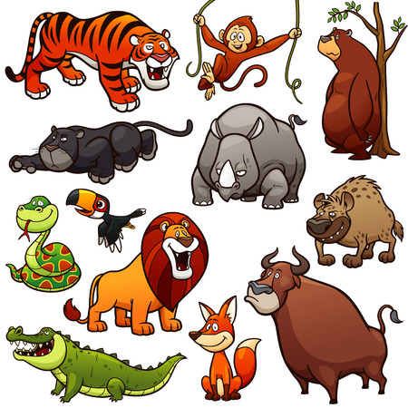 Vector illustration of Cartoon Wild Animals Character Set Çizim