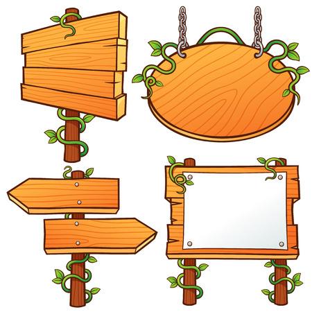 Vector illustration of Wooden Signs set