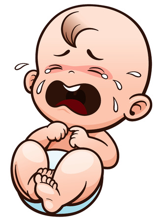 Vector Illustration of Cartoon Baby crying