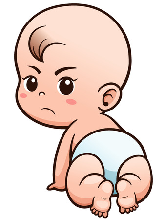 Vector Illustration of Cartoon Baby learn to crawl